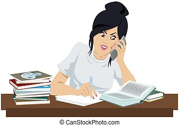 Beautiful girl with books talks on phone. Picture concept for web page design.
