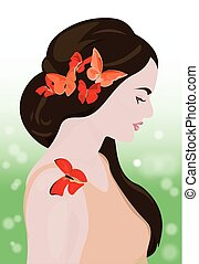 Beautiful Girl with butterflies