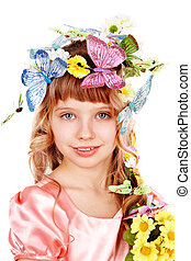 Beautiful girl with butterfly and  flower.