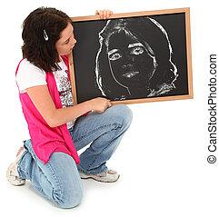 Beautiful Girl with Chalkboard
