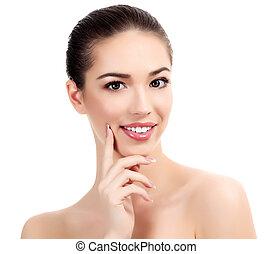 Beautiful girl with clean fresh skin, white background.