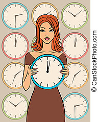 Beautiful girl with clock.