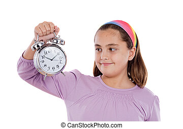 Beautiful girl with clock on a over white background