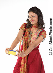 Beautiful girl with credit card