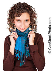 Beautiful girl with curly hair isolated on white background