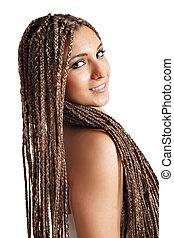 beautiful girl with dreadlocks hair portrait