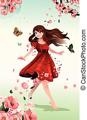 Beautiful girl with flowers - A vector illustration of...