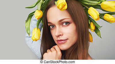 beautiful girl with flowers