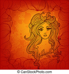 Beautiful girl with flowers in hair. Stylized vector...