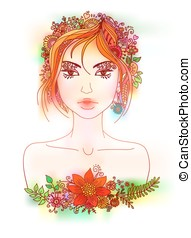 Beautiful girl with flowers in hair