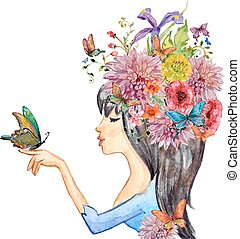 beautiful girl with flowers on her head. watercolor painting. ve