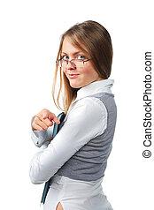 Beautiful girl with folder isolated on white background