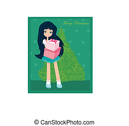 beautiful girl with gift box - Christmas postcard