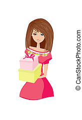 Beautiful girl with gift box