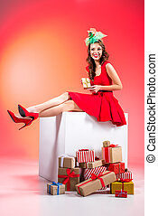 beautiful girl with gift boxes