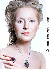 Beautiful girl with glamour Christmas makeup
