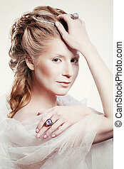 Beautiful girl with glamour Christmas makeup - Winter...