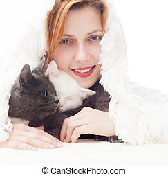 beautiful girl with gray and white cats