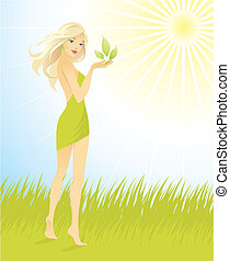 beautiful girl with green leaf