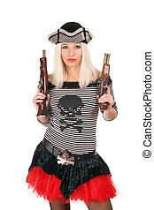 Beautiful girl with guns