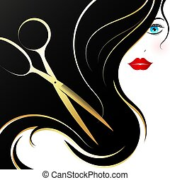 Beautiful girl with hairstyle and golden scissors