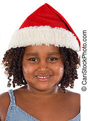 Beautiful girl with hat of Santa Claus