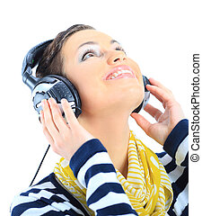 Beautiful girl with headphones.