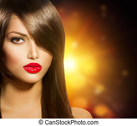 Beautiful Girl with Healthy Long Brown Hair and Brown Eyes
