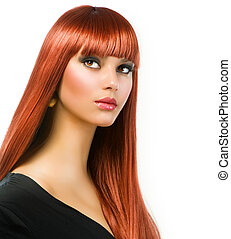 Beautiful Girl with Healthy Long Straight Hair