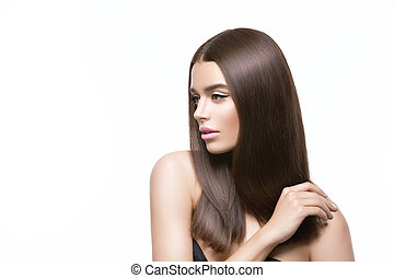 Beautiful girl with healthy shiny hair - Beautiful young ...