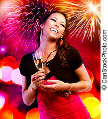 Beautiful Girl with Holiday Makeup Holding Glass of Champagne