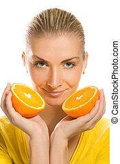 Beautiful girl with juicy orange
