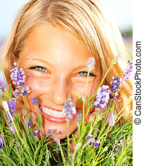 Beautiful Girl With Lavender