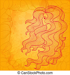 Beautiful girl with long curly hair. Decorative vector background