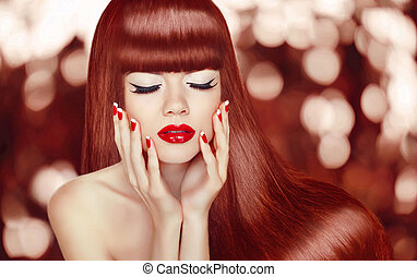 Beautiful girl with Long Hair. Fashion Woman Portrait. Makeup. M