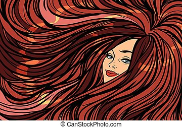 Beautiful girl with long hair left background. Pop art retro...
