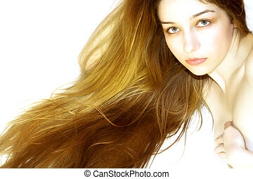 Beautiful girl with long hair, on white background