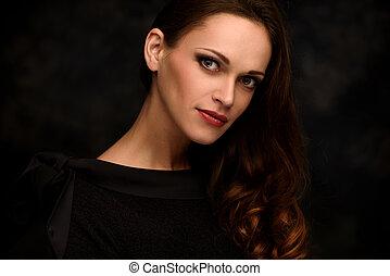 Beautiful girl with long wavy hair - Beautiful brunette girl...