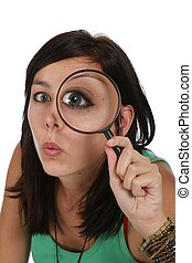 Beautiful Girl with Magnifying Glass