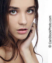 Beautiful girl with  makeup, youth and skin care concept