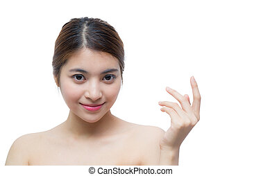 Beautiful girl with makeup, youth and skin care concept / attractive asian girl isolated on white background