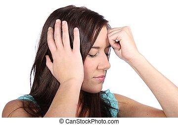 Beautiful Girl with Migraine Headache