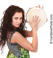 Beautiful  girl with music instrument.