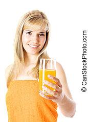 Beautiful girl with orange juice
