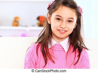 Beautiful girl with orange.