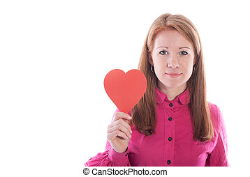 Beautiful girl with paper heart on a white background.