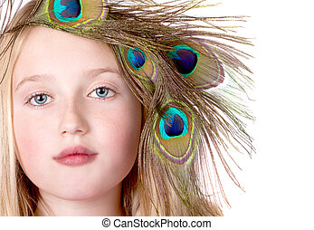Beautiful Girl with Peacock Feather head dress
