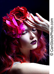 beautiful girl with pink hair, large rose flower in her hair