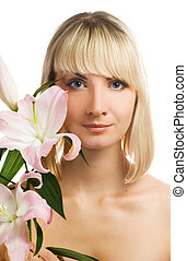 Beautiful girl with pink lily isolated on white background