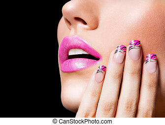 Beautiful girl with pink lips and nails on black background